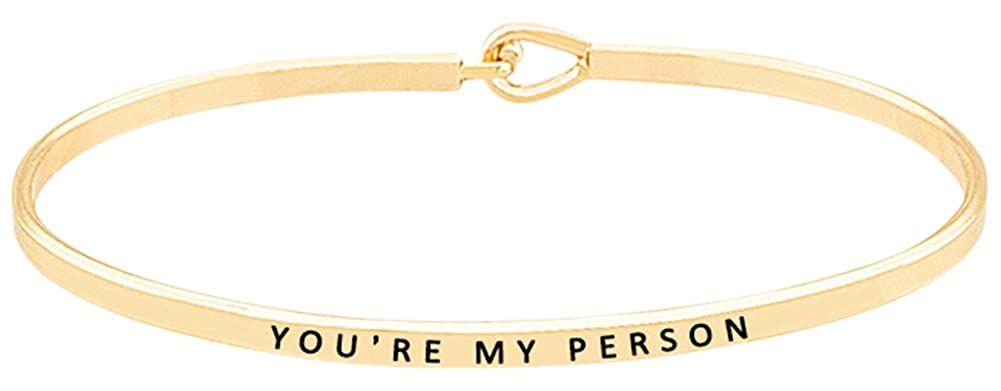 GLAM ''You're My Person'' Inspirational Quote Mantra Engraved Hook Bangle Cuff Bracelet GGG Boutique M-2017165