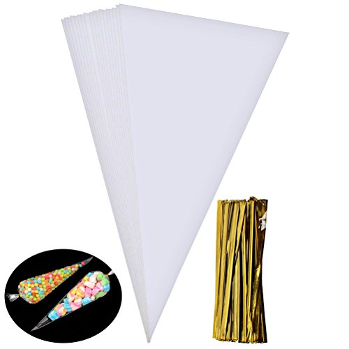 (Wode Shop 100 Pieces Clear Cone Bags, Medium Transparent Plastic Cone Bags Sweets Treat Bags With Gold Twist Ties, 14.56 X 7.1)