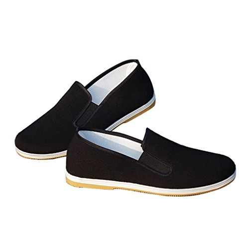 Aircee Men Chinese Traditional Old Beijing Shoes Kung Fu Tai Chi Rubber Sole Shoes Black (CHN 44 270mm (US Men 9/Women 9.5), 2-Black)