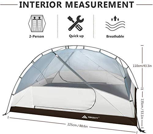 41gUS4HMsDL Forceatt Zelt 2-3 Personen Camping Zelt, 2 Doors Wasserdicht & Winddicht 3-4 Saison Ultraleichte Rucksack Zelt für…