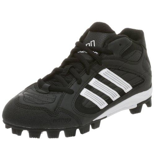 adidas Kid's Triple Star 5 Mid J Baseball Cleat,Black/White,6 M