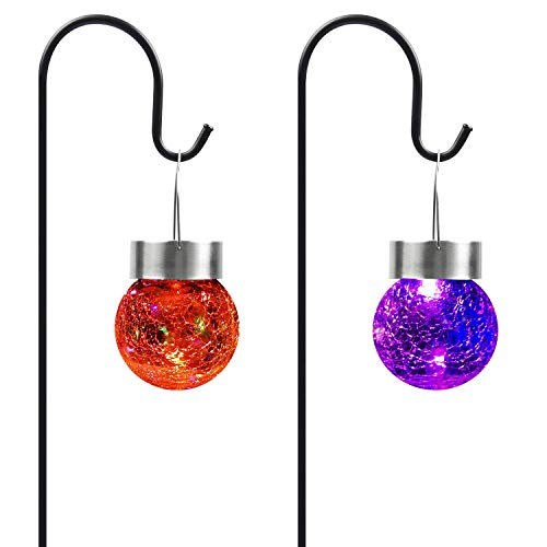 HANKEY Hanging Solar Lights Outdoor Cracked Glass Ball Solar Garden Stake Waterproof Landscape Decorative Lights for…