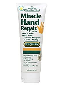 Miracle of Aloe Miracle Hand Repair Cream 8 Oz Relieve Dry, Cracked, Flacking Hands Immediately! Therapeutic Formula Contains 60% Ultra Aloe - The Purest Most Potent Form of Whole Leaf Aloe Vera Gel. Fast Acting Relief, Say Good Bye to Dry, Cracked Hands Now! Keep Your Hands Healthy & Warm this Winter! Reduces Flaking and Redness, Use on Hands, Elbows and Knees, Exclusive Fast Acting Formula Penetrates Deep Into Damaged Skin Layers to Moisturize Where It's Needed Most. Leaves Hands Feeling Silky Smooth and Comfortable. Olay, Ponds, Vaseline, Nivea, Eucerin, Aveeno.