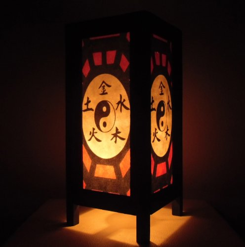 Thai Vintage Handmade ASIAN Oriental Handcraft Taoism Yin Yang Chinese Zen Art Bedside Table Light or Floor Wood Paper Lamp Shades Home Bedroom Decor Modern Design from Thailand by Red berry Thailand Lanna Lamp