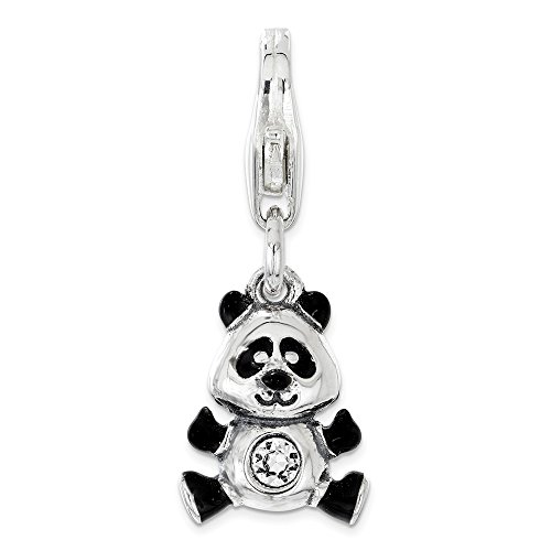 925 Sterling Silver Rh Enameled Swarovski Panda Lobster Clasp Pendant Charm Necklace Animal Bear Fine Jewelry Gifts For Women For Her for $<!--$49.95-->