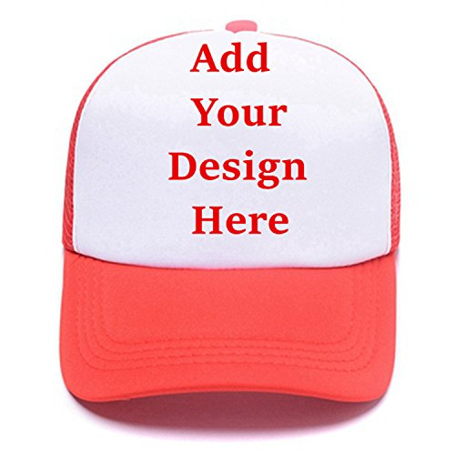 Unisex Driving Hats,Custom Personal Text Summer Adjustable Sports Trucker Sun Caps Red ()