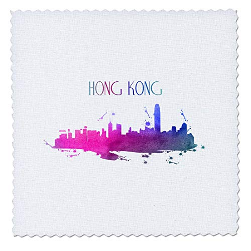 3dRose Sven Herkenrath City - Hong Kong China Chinese Skyline with Wonderful Colors - 6x6 inch quilt square (qs_311018_2)