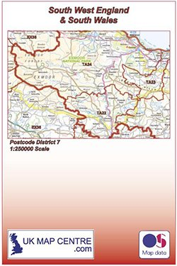 Colour South West England and South Wales Postcode District 7 Map Folded