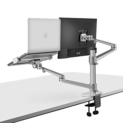 viozon Monitor and Laptop Mount, 2-in-1 Adjustable Dual Monitor Arm Desk Mounts,Single Desk Arm Stand/Holder for 17 to 27 Inch LCD Computer Screens, Extra Tray Fits 12 to 17 inch Laptops (Silver) (Best Setup For Laptop And Monitor)