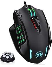 Redragon M908 Impact RGB LED MMO muis USB laser gaming muis met 12400dpi, hoge precisie, 18 programmeerbare zijtoetsen, ergonomisch design, zwart