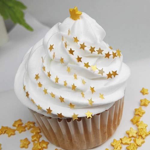 Natural Color Edible GMO Nuts Gluten Sugar Free Glitter Star (gold) ()