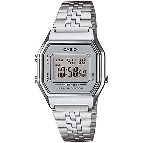 Casio Ladies Mid-Size Silver Tone Digital Retro Watch