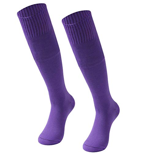 Baseball Socks, RTZAT Unisex Youth Men Women Soild Color Sports Football Soccer Socks 2 Pairs Purple