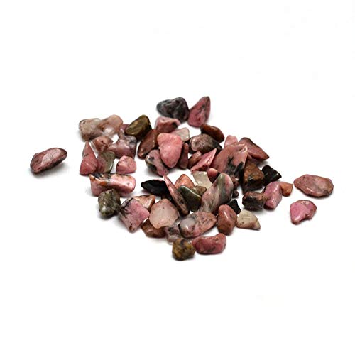 (Kissitty 20 Grams Natural Rhodonite Tumbled Chip Stone Beads Undrilled Irregular Small Crushed Energy Healing Chakra Stone for DIY Craft Home Decoration)