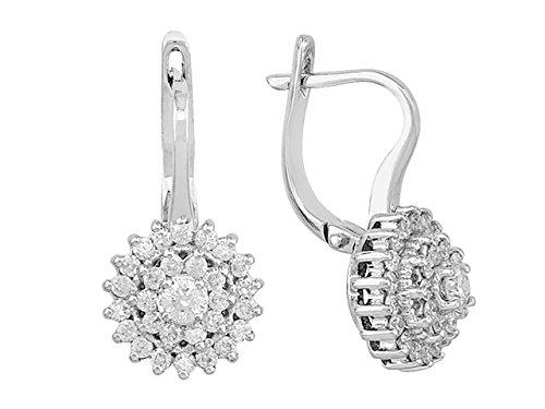 Birgie Diamants et Bijoux -Boucles d'Oreilles Diamants-Femme- or Blanc 204E0031