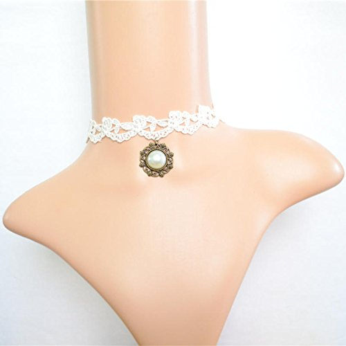 Lvxuan Elegant Gothic Vintage Palace Jewelry White Lace Round Pendant Pearl Collar Necklace