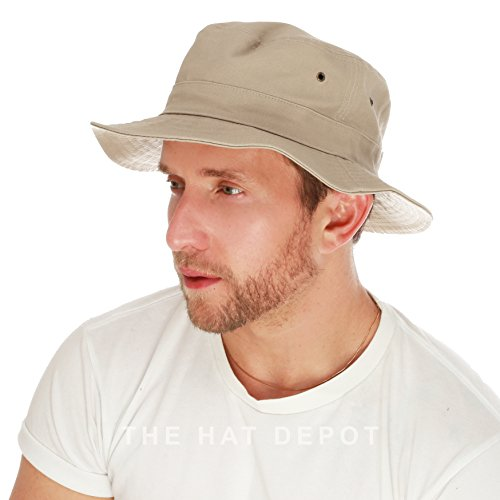 THE HAT DEPOT 100% Cotton Canvas Packable Summer Travel Bucket Hat (L/XL, Khaki) (Beige Bucket)