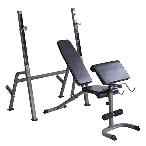 GYMAX Adjustable Benches Weight Lifting Benches W/Rack Olympic Exercise Fitness Equipment Heavy Duty Weight Lifting Bench Set for Strength Training