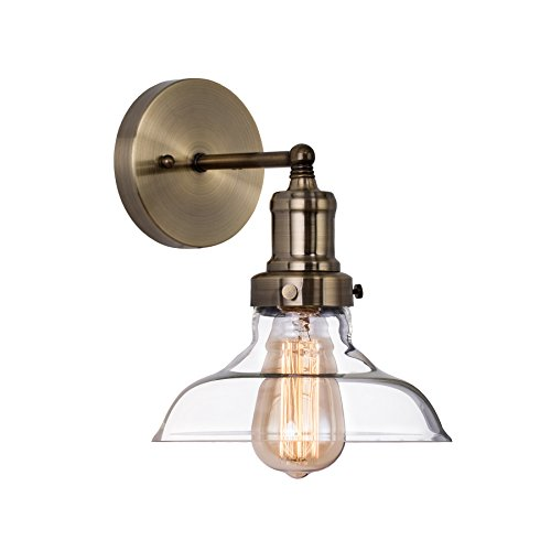- MAYKKE Bristow Industrial Wall Sconce LED Antique Brass Glass Shade Wall Lamp Edison Light Fixture Hallways, Cafe, Kitchen, Living Room JYC1000101