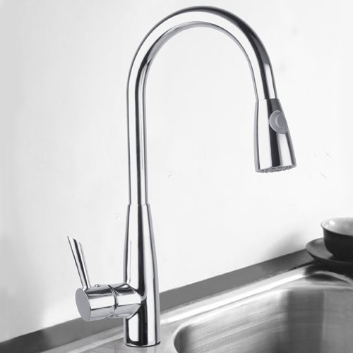 Ouku Deck Mount Centerset Solid Brass Chrome Finish Single Handle Pull Out Kitchen Sink Faucet Basin Mixer Taps With Pull Down Sprayer Unique Designer Ceramic Valve Included Plumbing Fixtures