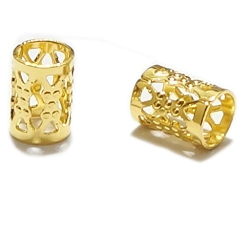 ted Filigree Pattern Tube Spacer Beads Copper Metal (Hole Size ~4.9mm), Top Quality CF106-G (Filigree Bead)