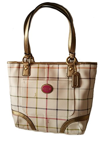 Coach Canvas Leather Heritage Peyton Tattersall Tote Shoulder - Multicolor Coach Handbags