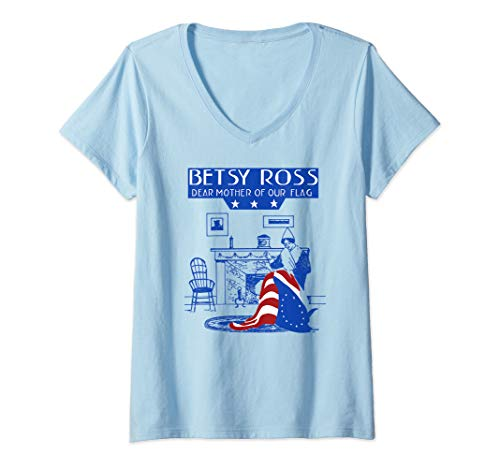 Womens USA Betsy Ross American Flag Shirt Art-13 Original Colonies V-Neck T-Shirt