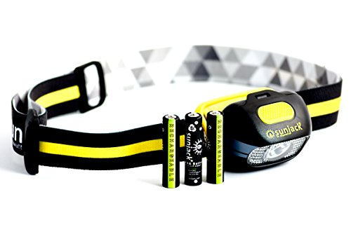 SunJack USB Rechargeable Waterproof LED HeadLamp - Red, Spotlight and Floodlight AAA Rechargeable Batteries Included