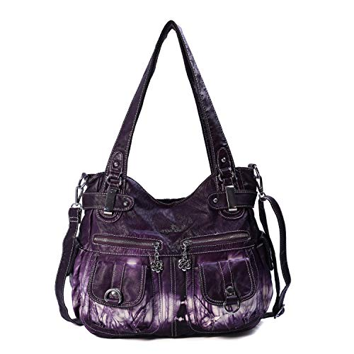 Angelkiss Women's Designer Handbag Large Double Zipper Multi Pocket Washed, Purple-z (Handbags)