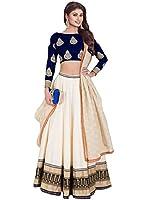 S R Fashion Women's Faux Georgette Lehenga Choli (SRF-5001, Cream)