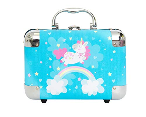 Unicorn Jewelry Box, Kids Storage Organizer for Earrings, Necklaces, Rings, Bracelets and Accessories. Makes Great Girls Gifts, goes with Any Bedroom Decor.(Blue Jumping Unicorn)