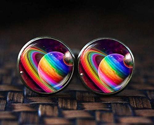 Rainbow Art Jewelry Bloody devil Rainbow Planet Cufflinks Rainbow Space Cufflinks Proud Rainbow Gay Pride Flag Cufflinks LGBTQ Comrade Pride Cufflinks