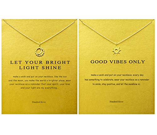 Hundred River Friendship Sun Necklace Moon and Sun Necklace with Message Card Gift Card (Sun Necklace Moon and Sun -