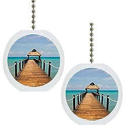 Set of 2 Beach Boardwalk Ocean Solid Ceramic Fan Pulls