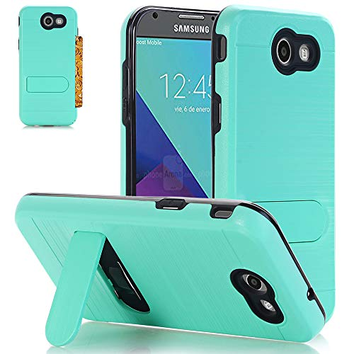 Alkax Case for Samsung Galaxy J3 Luna Pro /J3 2017 /J3 Emerge /J3 Prime /J3 Eclipse /J3 Mission/Amp Prime 2/Express Prime 2 Dual Layer with Kickstand Card Holder Shockproof Hard Cover&Stylus-Teal Mint -
