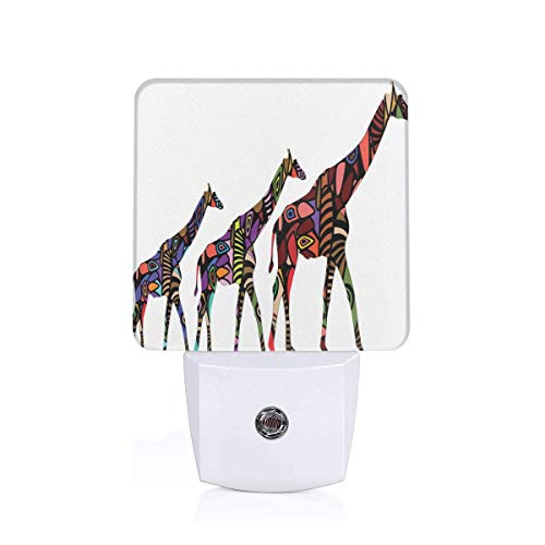 - Colorful Plug in Night,African Giraffes in Ethnic Style Eastern Environment Retro Cultural Traditional Theme Artwork,Auto Sensor LED Dusk to Dawn Night Light Plug in Indoor for Childs Adults