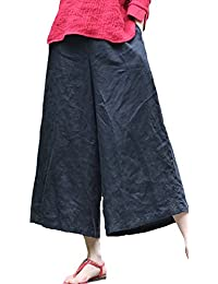 Ecupper Womens A-line Vintage Linen Loose Wide Leg Cropped Washed Trousers Pants