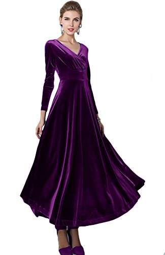 Urban CoCo Women Long Sleeve V-Neck Velvet Stretchy Long Dress (Small, Purple) -