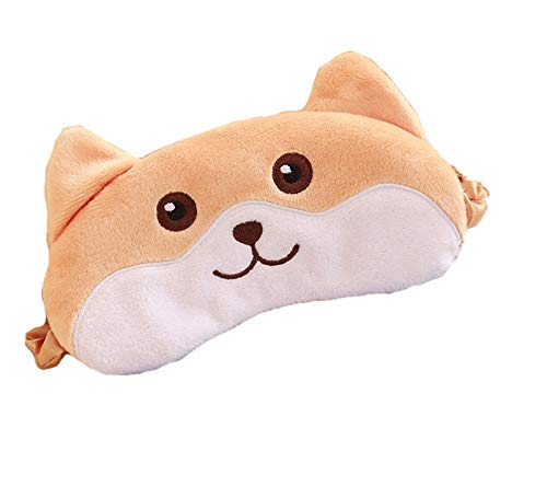 Cute Animal Novelty Cartoon Brown Corgi Dog Puppy Funny Eye Mask for Sleeping for kids Adult Unisex Sleep Mask Blindfold Silk Plush