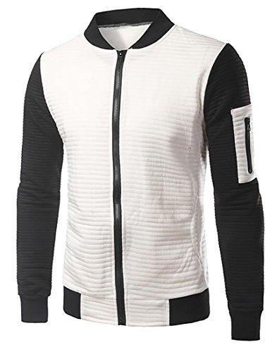 Beloved Mens Autumn Baseball Collar Raglan Sleeves Slim Fit Front Zipper Coat White XL (Michael Jordan Michael Jackson)