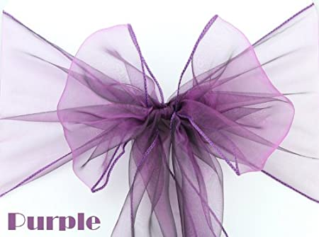 Stupendous Organza Chair Cover Sashes Bow Wedding Party Banquet Colour Sash White Purple Pink Red Gold Blue Black Orange Green Yellow Purple Bralicious Painted Fabric Chair Ideas Braliciousco