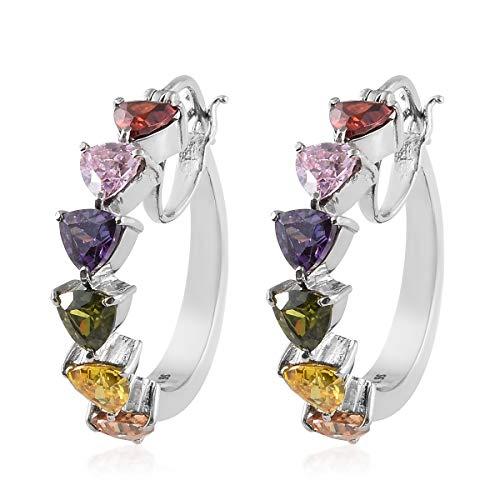 6 Stone Multicolor Heart Hoops, Hoop Earrings Cubic Zirconia CZ Hypoallergenic Gift Jewelry for women Cttw -
