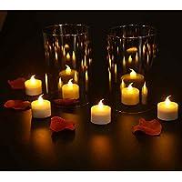 CajuArt 6-12-24 Adet Tealight Led Mum Sarı Hareketli Işıklı Led Mum Setleri (6 Adet)