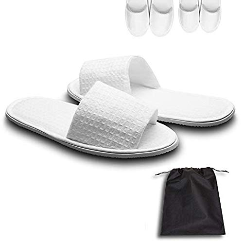 echoapple 5 Pairs of Waffle Open Toe White Slippers-One Size Fit Most Men and Women for Spa, Party Guest, Hotel and Travel(Medium, White-5 Pairs) (Toe Waffle)