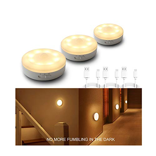(Rechargeable Puck Lights 1000mAH Battery Operated Motion Sensor Light LED Stick Anywhere,Cordless Closet Light,Automatic Cabinet Lighting For Counter,Pantry,Wardrobe,Hallway,Stairs,Warm White 3 Pack)