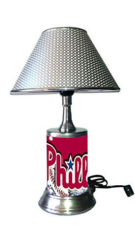 (JS Phillies Table Lamp with Chrome Shade, Your Favorite Team Plate Rolled in on The lamp Base, PP, MLB)