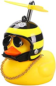 Yarssir Rubber Duck Toy Car Ornaments Yellow Duck Car Dashboard Decorations with Propeller Helmet for Adults,