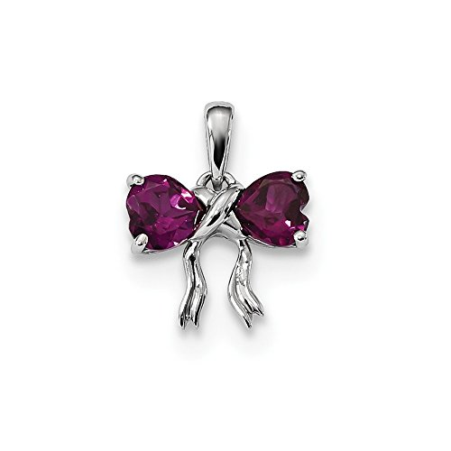 Red Rhodolite Garnet Bow Tie Charm Two Hearts Pendant Love Knot Fashion Sterling Silver