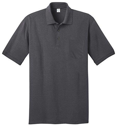Port & Company Men's Comfortable Knit Pocket Polo Shirt_Charcoal_X-Large (Pocket Polo)