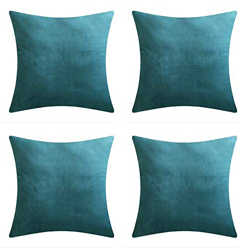 Andreannie Set of 4 Velvet Super Soft Comfortable Solid Decorative Throw Pillow Cover Cushion Case for Sofa Living Room 18 inches,20 inches Square (Teal Blue, 18